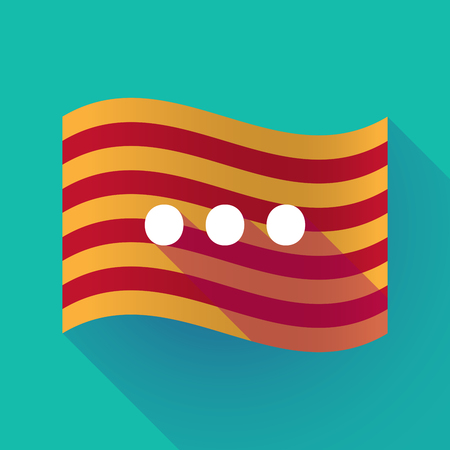 Illustration of a long shadow waving Catalonia flag with  an ellipsis orthographic sign