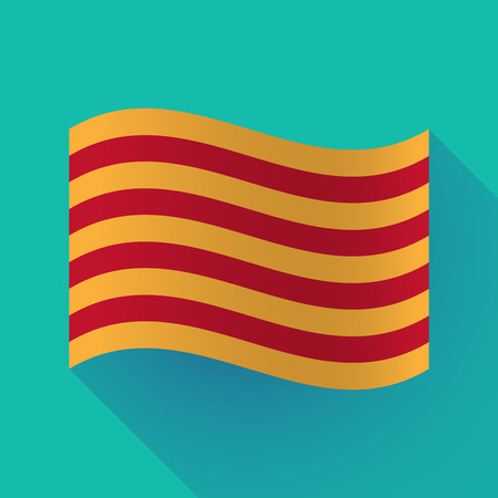 autonomía: Illustration of a long shadow waving Catalonia flag