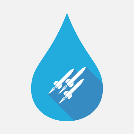 atomic bomb: Illustration of an isolated blue water drop with missiles