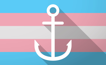 trans gender: Illustration of a long shadow trans gender flag with an anchor Illustration