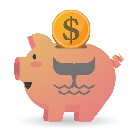 Illustration of an isolated piggy bank with a dollar coin and a whale tail Illustration