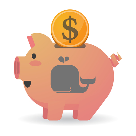 Illustration of an isolated piggy bank with a dollar coin and a whale Ilustração