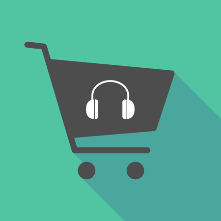 Illustration of a long shadow shopping cart with a earphones Illustration