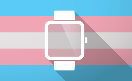 wireless: Illustration of a long shadow trans gender flag with a smart watch