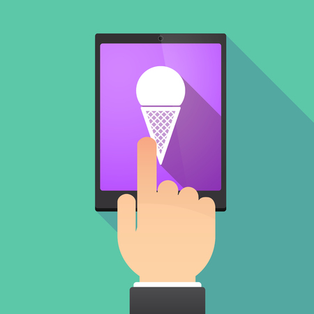 Illustration of a hand touching a tablet PC with a cone ice cream