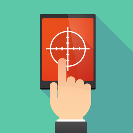 Illustration of a hand touching a tablet PC with a crosshair