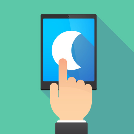 long night: Illustration of a hand touching a tablet PC with a moon
