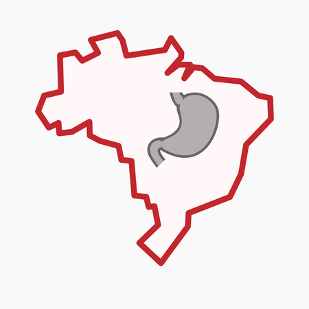 Illustration of an isolated line art Brazil map with  a healthy human stomach icon