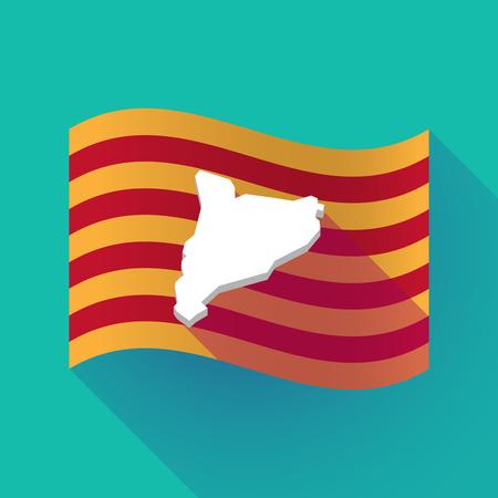 Illustration of a long shadow waving Catalonia flag with  the map of Catalonia Illustration