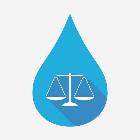 justice scale: Illustration of an isolated blue water drop with a justice weight scale sign Illustration