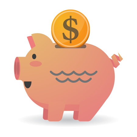 Illustration of an isolated piggy bank with a dollar coin and a water sign