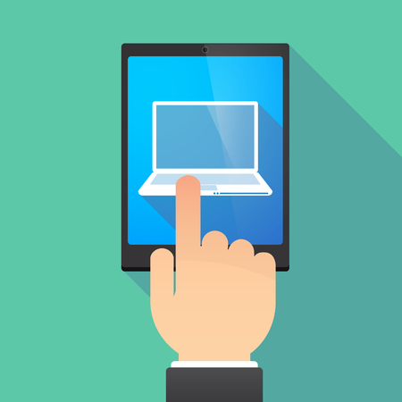 wireless: Illustration of a hand touching a tablet PC with a laptop Illustration