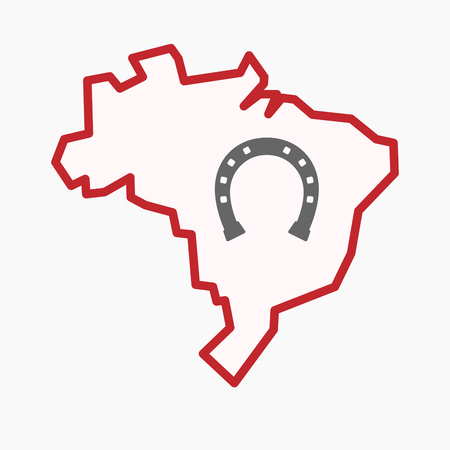 Illustration of an isolated line art Brazil map with  a horseshoe sign