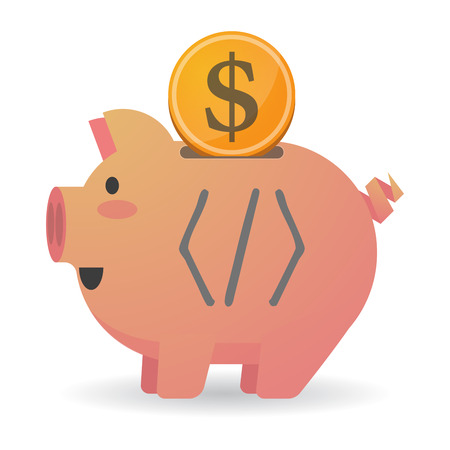 Illustration of an isolated piggy bank with a dollar coin and a code sign