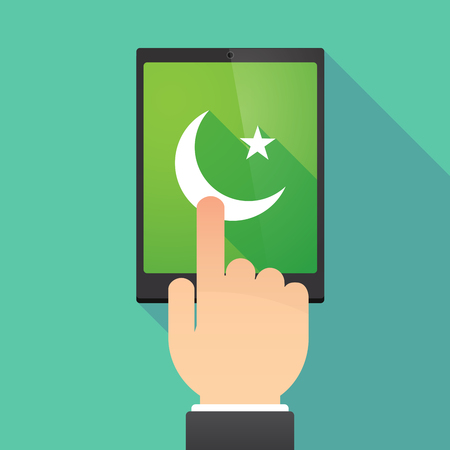 wireless: Illustration of a hand touching a tablet PC with an islam sign