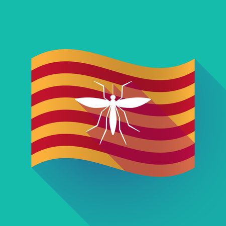 Illustration of a long shadow waving Catalonia flag with  a mosquito Illustration