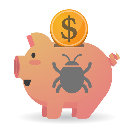 Illustration of an isolated piggy bank with a dollar coin and a bug Illustration