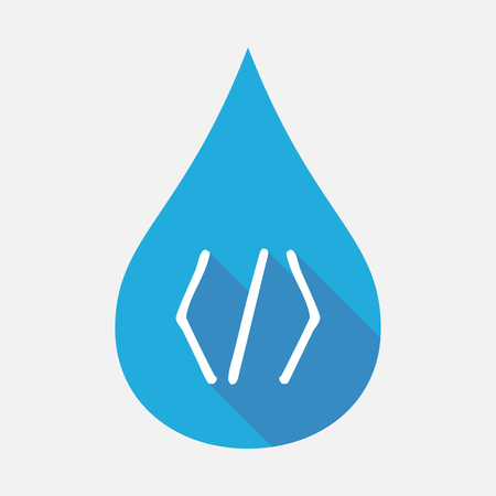 Illustration of an isolated blue water drop with a code sign