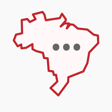 Illustration of an isolated line art Brazil map with  an ellipsis orthographic sign