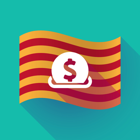 Illustration of a long shadow waving Catalonia flag with  a dollar coin entering in a moneybox