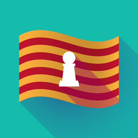 Illustration of a long shadow waving Catalonia flag with a  pawn chess figure
