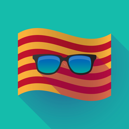 autonomía: Illustration of a long shadow waving Catalonia flag with  a sunglasses icon