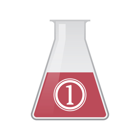 Illustration of an isolated chemical flask with  a coin icon Illustration