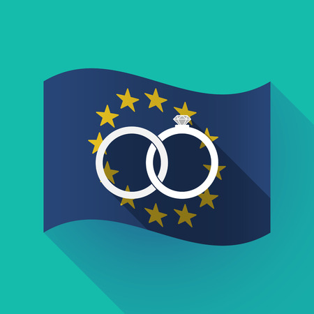 Illustration of a long shadow waving European Union flag with  two bonded wedding rings