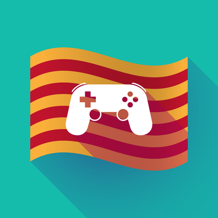 Illustration of a long shadow waving Catalonia flag with  a game pad
