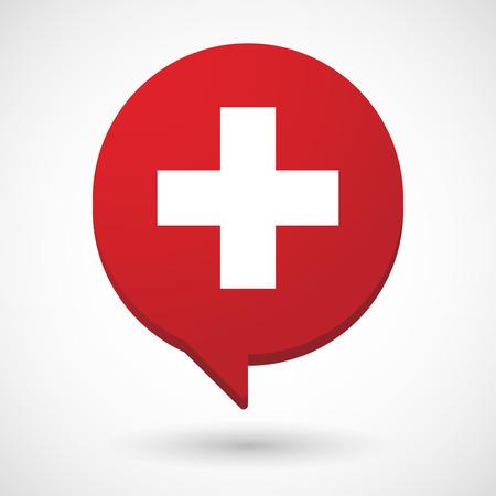 Illustration eines isolierten Comic-Ballons mit der Schweizer Flagge Standard-Bild - 82692849