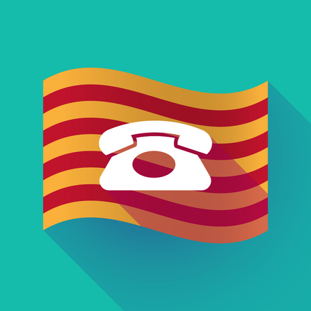 Illustration of a long shadow waving Catalonia flag with  a retro telephone sign