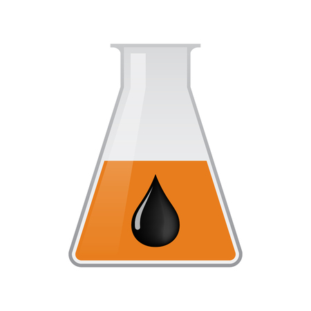 Illustration of an isolated chemical flask with  an oil drop icon