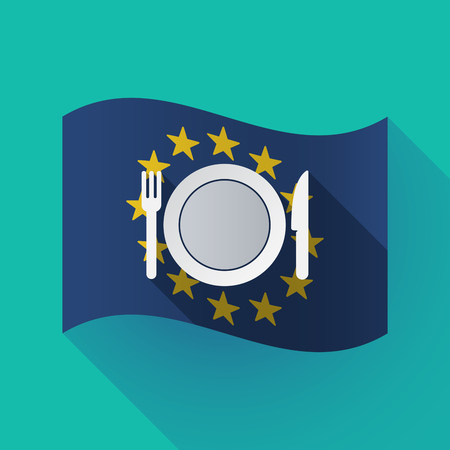 Illustration of a long shadow waving European Union flag with  a dish, knife and a fork icon