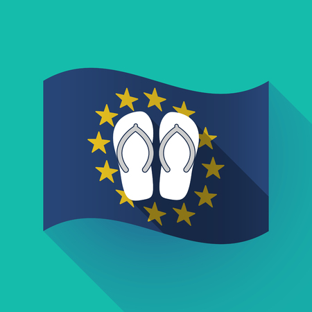 Illustration of a long shadow waving European Union flag with   a pair of flops
