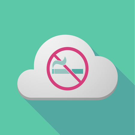 Illustration of a long shadow cloud with  a no smoking sign