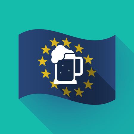 jarra de cerveza: Illustration of a long shadow waving European Union flag with  a beer jar icon Vectores