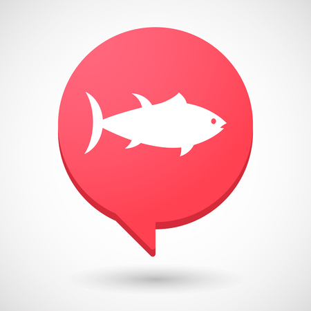 Illustration of an isolated comic balloon with  a tuna fish 向量圖像