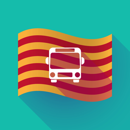 Illustration of a long shadow waving Catalonia flag with  a bus icon