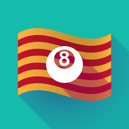 Illustration of a long shadow waving Catalonia flag with  a pool ball Illustration