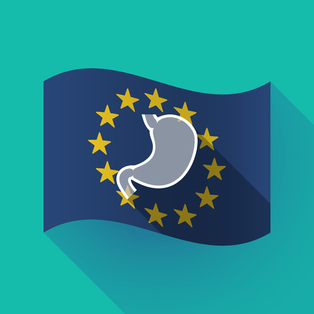 Illustration of a long shadow waving European Union flag with  a healthy human stomach icon