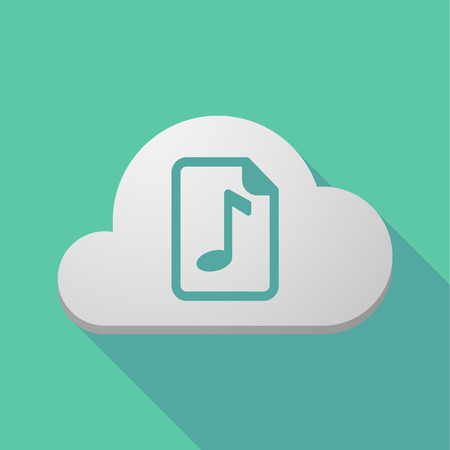 musical score: Illustration of a long shadow cloud with  a music score icon