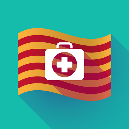Illustration of a long shadow waving Catalonia flag with  a first aid kit icon Illustration