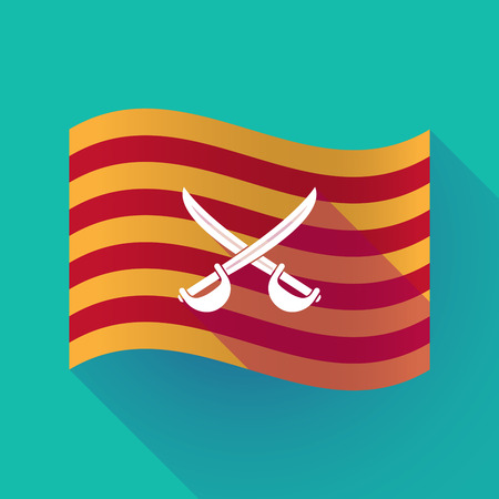 Illustration of a long shadow waving Catalonia flag with  two swords crossed Illustration