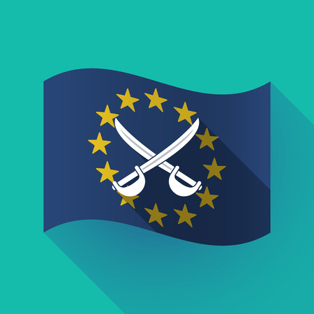 Illustration of a long shadow waving European Union flag with  two swords crossed