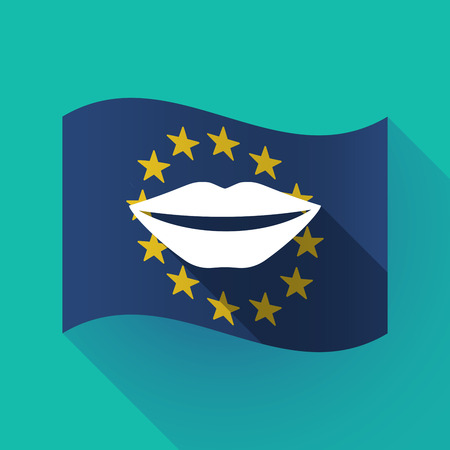 Illustration of a long shadow waving European Union flag with  a female mouth smiling
