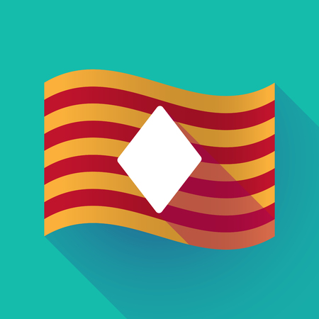 Illustration of a long shadow waving Catalonia flag with  the  diamond  poker playing card sign