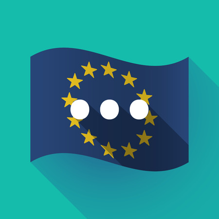 Illustration of a long shadow waving European Union flag with  an ellipsis orthographic sign