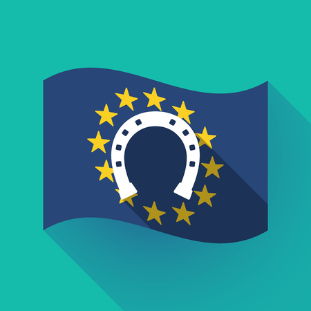 Illustration of a long shadow waving European Union flag with  a horseshoe sign