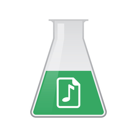musical score: Illustration of an isolated chemical flask with  a music score icon