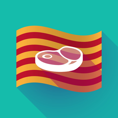 Illustration of a long shadow waving Catalonia flag with  a steak icon